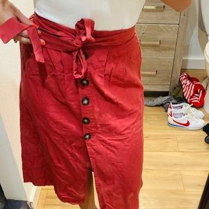 Xs salmon mauve brick tie skirt button down